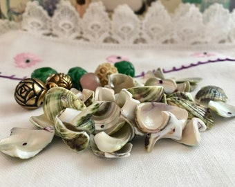 Sea Shells * Drilled * Green Glass Beads * Gold Flower Beads * Pink Glass Bead * White Ivory Vintage Bead *