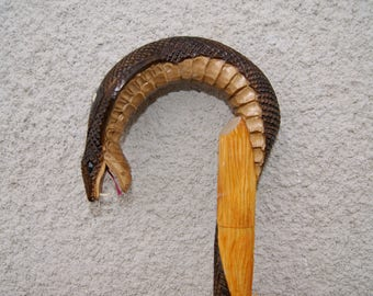 Cane Walking Stick Wooden Handmade Hand Carving Cobra