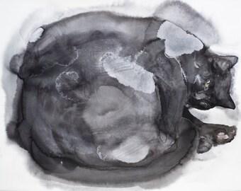 Black cat - original watercolor painting