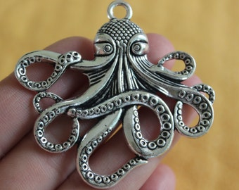 1 Large Octopus Charms Antique Silver Tone  43x36mm