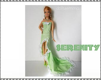 OOAK Model Muse Barbie Doll Clothes - SERENITY Gown and  Jewelry Set - Custom Fashion - by dolls4emma