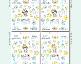 Baby Boy Stickers - Different Hair/Skin Color - Kawaii Chibi Baby planner stickers, EC stickers, Personal Planners