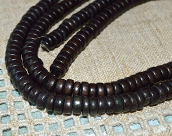 Wood Beads Rondelle Chocolate Brown 8x4mm Flat Disc Round Coin 16x2 inches Strand