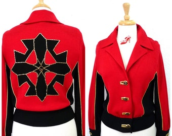 Vintage 1980s jacket St. John Collection by Marie Gray Red and Black knit Gold Embroidery Beaded Cross Small