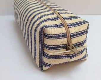 handmade cotton linen fabric pencil case/makeup bag/storage bag with water resistant lining