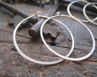 Large Classic Sterling Silver Hoop Earrings