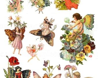 Digital Collage Sheet fairy Butterflies wing JPEG-Instant Download fairies butterflies ephemera Digital Scrapbook junk journal spring garden