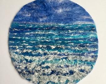Seascape Painting, Textile Sea Picture, Waves, Water, Nautical Landscape, Fibre Art, Circular Painting, Wild Sea Painting, Felt picture,