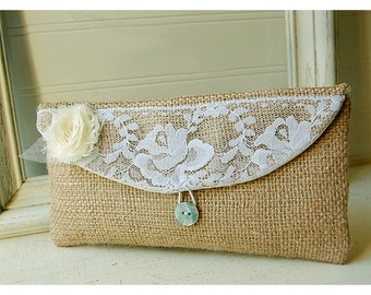 bridesmaid clutch purse Burlap lace Clutch Purse Rustic wedding burlap bag Beach clutch Wedding Accessory Summer Wedding Bridesmaid Gift