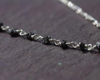 Silver Diamond Choker, Raw Black Diamonds Dainty Silver Choker Sterling Silver Necklace April Birthstone Diamond Choker Necklace