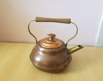 Vintage handmade COPPER KETTLE with wooden  handles