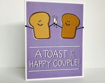 A Toast To the Happy Couple, Greeting Card by Tiny Gang Designs. Anniversary Card. Engagement Card. Wedding Card. Love Card. Pun Card. Toast
