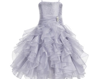 Flower girl dress Wedding Junior Bridesmaid, Communion Baptism Toddler Dress Organza Rhinestones Bridal Handmade Special Occasions Holidays