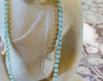 "24"" Amazonite Necklace, Knotted with Teal Thread"