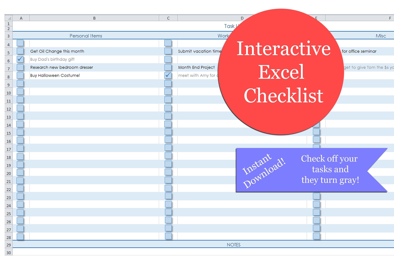 Excel Checkliste Excel interaktive leere Checkliste