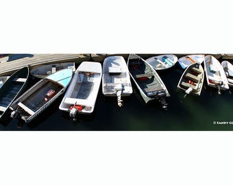 Love Me Tender, up to 36 x 10 Panorama, Bar Harbor, Maine, Seascape, Boats, Tenders, Dock, Acadia, Fine Art, Wall Art