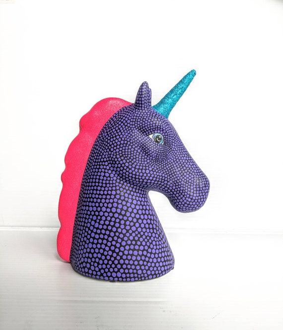 Unicorn Hand painted Unicorn coin bank ceramic coin bank piggy bank neon pink mane black and purple unicorn ceramic piggy bank