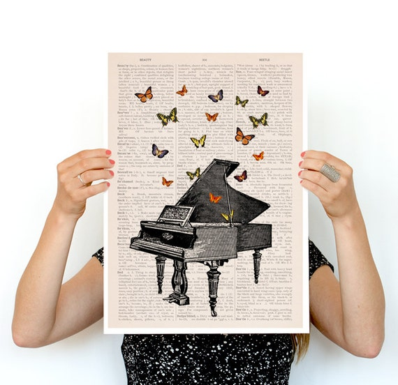 Piano with butterflies Poster, Synesthesia poster Music art, music art, Wall art, Wall decor, Butterfly art, Giclee art, Wholesale BFL086PA3
