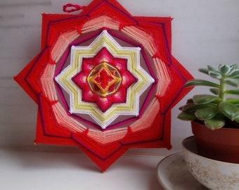 Muladhara Chakra - Woven Yarn Mandala, Ojo de Dios, Olho de Deus, Eye of God, 26.5 cm, 10', Cafe Yoga Spa Home Decor Interior