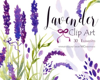 Lavender Watercolor Clip Art PNG Floral Clip Art for Invitation, Greeting Card, Watercolor Graphics, Watercolor Elements, Floral Graphics