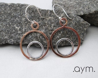 copper silver mixed metal circle earrings, antique copper sterling silver hand forged artisan earrings, gift for her, wife, stocking stuffer