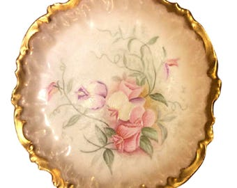 Antique French Limoges Plate, Coiffe Factory France, Heavy Gold with Sweet Pea Flowers,  Cabinet Plate, Hand Painted Sweet Peas Floral Plate