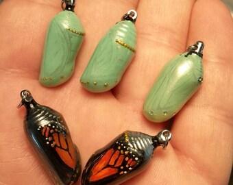 Monarch Butterfly Chrysalis Pendants