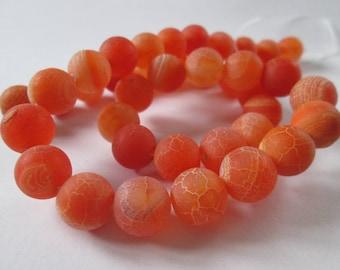 pink orange dragon veins agate round 10 mm 10 beads