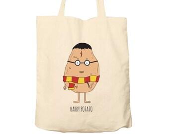 Tote Bag Harry Potato, Food Puns, Cotton Food Bag, Bag For Life, Tote Bag Funny, Illustrated Tote