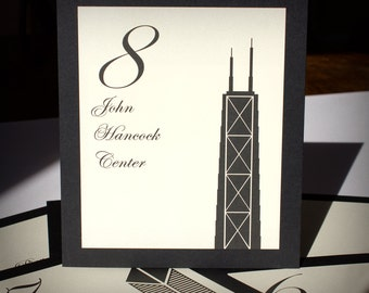 Chicago Table Number Wedding Decor Custom Icons Landmarks Silhouette City Illinois