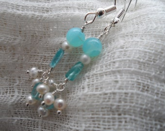 Apatite, Pearl and Opal Earrings