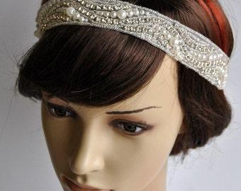 Luxury Crystal pearls  Rhinestone Tie on Headband headpiece, Headband, Wedding Headband, ribbon headband, Bridal rhinestone head piece
