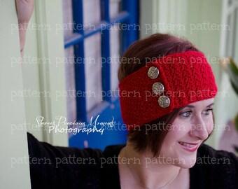 PATTERN The River Buttoned Headwrap Earwarmer Headband Crochet PATTERN