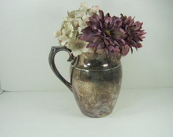 Vintage SILVERPLATE Water PITCHER Tarnish Patina WEDDiNG Vase