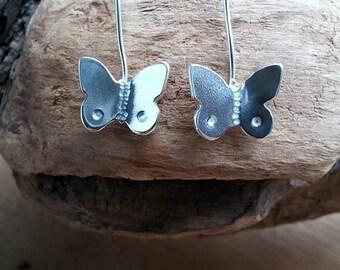 Butterfly Earrings, Sterling Butterfly, Gift for Her, Butterfly Jewelry, Drop Earrings, Dangle, Silver Butterfly