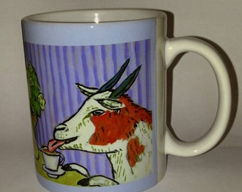 goat art - Goat at the cafe coffee shop art mug cup 11 oz gift