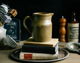 Vintage French Caramel Glazed Digoin Jug / Grespots Stoneware Pitcher