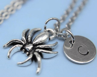 Spider Necklace Silver Spider Charm Necklace Spider Pendant Personalized Necklace  Initial Necklac Spider Necklace Insect Charm