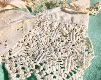 A Dozen Pieces of VINTAGE Lace  * Tatting * Eyelet * Crochet * Trim * Satin Ribbon * for Crafts / Doll Clothes trim / etc.