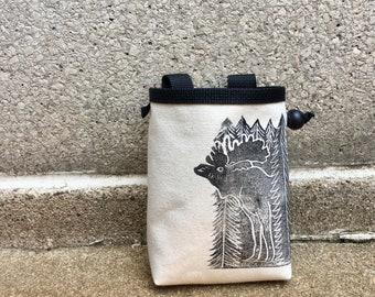 chalk bag, rock climbing chalk bag, chalkbag, climbers, climbing gifts, rock climbers, canvas chalkbag, linoprint, moose