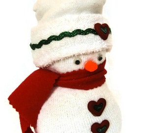 Sock Snowman; Christmas Decoration; Holiday Snowman; Winter Decor