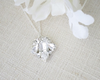 Crystal rhinestone pendant necklace, Bridesmaid gift, Simple sterling silver wedding necklace, Mother of Bride jewelry, Bridal necklace