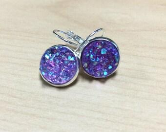 Purple Druzy Earrings | Sparkle Shiny Drop Earrings | Sparkly Dangle Earrings | Bridesmaids Bridal Wedding Prom Jewelry