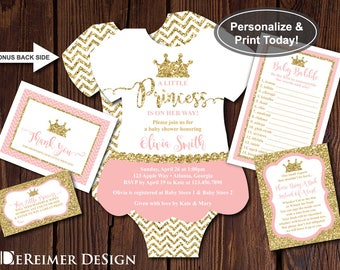 Little Princess Baby Shower Invitation, Tutu, Pink, Gold Glitter, Self-Editing Invite, Book and Thank You Cards, Diaper Raffle Ticket, Game