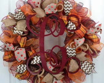 Thanksgiving Mesh Wreath - Fall Wreath for Front Door - Letter Fall Wreath - Fall mesh wreath with Monogram - Fall Wreath with Initial