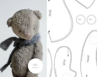 PDF Sewing Pattern & Tutorial Mohair Teddy Bear 6 Inches Stuffed Animal Pattern For Women Artist Teddy Bear Pattern Plush Pattern Soft Toys