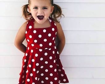 Minnie Mouse dress, Red & White Polka Dot Dress, Disney Dress