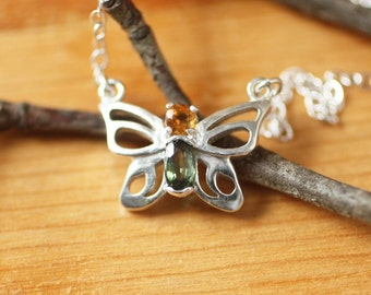 Tiny Butterfly Gemstone Silver Necklace  Sterling Silver Birthstone Butterfly Necklace