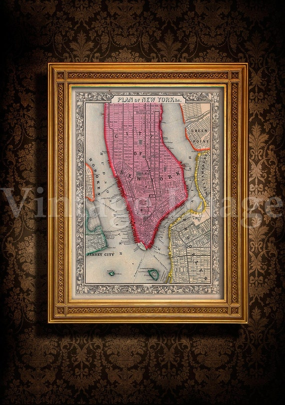 """Old Map of New York City, 1860 Antique Restoration decorator Style NYC MAP sizes up to 43"""" x 54"""" Old New York map Wall art Fine print"""