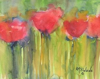 Red Poppy Elegance 12 x 16 Fine Art Poster RP015